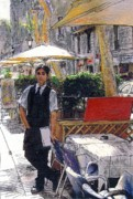 Barcelona Painting Originals - Waiter on La Rambla by Randy Sprout