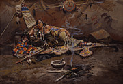 Tribal Paintings - Waiting and Mad by Charles Marion Russell