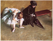 Impressionism Pastels Prints - Waiting Print by Edgar Degas
