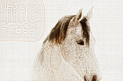 Gray Horse Prints - Waiting For a Beer Print by Betty LaRue