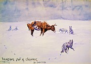 Cowboys Prints - Waiting For A Chinook Print by Pg Reproductions