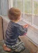 Miniatures Art - Waiting for Daddy by David Tabor