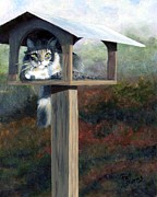 Cat Art Painting Prints - Waiting for Dinner Print by Pat Burns