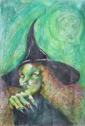 Bodyart Drawings Originals - Waiting For Halloween by Brigitte Hintner