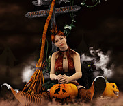 Spooky  Digital Art - Waiting for Halloween by Jutta Maria Pusl