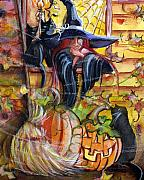 Witches Broom Posters - Waiting for Halloween Poster by Sylvia Pimental