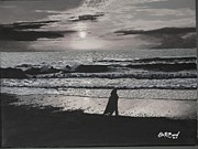 New Jersey Painting Originals - Waiting for Her Love grayscale by Eric Barich
