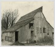 Old Barns Drawings Posters - Waiting For Life Poster by Bryan Baumeister