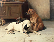 Floor Paintings - Waiting For Master by William Henry Hamilton Trood