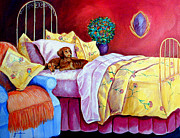 Dachshund Puppy Posters - Waiting for Mom - Dachshund Poster by Lyn Cook