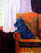Scottish Terrier Puppy Prints - Waiting for Mom - Scottish Terrier Print by Lyn Cook