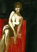 Strapless Dress Painting Originals - Waiting For Mr Right  3D by Harry WEISBURD