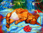 Dachshund Puppy Posters - Waiting for Santa  - Dachshund Poster by Lyn Cook