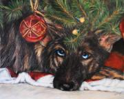 Big Eye Dog Prints - Waiting for Santa Print by Jai Johnson