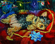 Santa Claus Posters - Waiting for Santa Yorkshire Terrier Poster by Lyn Cook