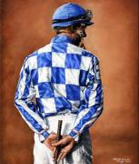 Greeting Cards Paintings - Waiting for Secretariat by Thomas Allen Pauly