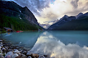 Kayaks Prints - Waiting for Sunrise at Lake Louise Print by Teresa Zieba
