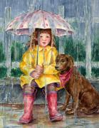 Girl Dog Framed Prints - Waiting for Sunshine Framed Print by Barbel Amos