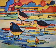 Shorebird Paintings - Waiting For Supper by Sue Prideaux