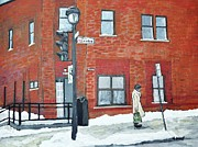 Montreal Winter Scenes Prints - Waiting for the 107 Bus Print by Reb Frost