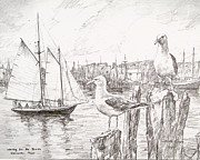 Seashore Drawings Metal Prints - Waiting for the boats Metal Print by Leslie Cope