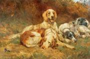 Hounds Painting Framed Prints - Waiting for the Guns  Framed Print by Thomas Blinks