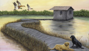 Waterfowl Paintings - Waiting for the Hunt by Deborah Collier