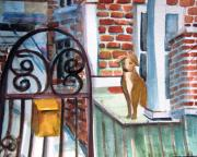Bricks Drawings - Waiting for the Mail by Mindy Newman