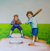 Baseball Drawings Posters - Waiting for the Pitch Poster by Nicole McKeever