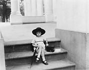 1920s Candid Art - Waiting For The President, A Young Girl by Everett