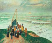 Concern Painting Prints - Waiting for the Return of the Fishermen in Brittany Print by Henry Moret