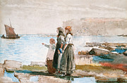 Maids Framed Prints - Waiting for the return of the Fishing Fleets Framed Print by Winslow Homer