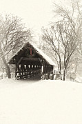 Covered Bridge Art Prints - Waiting for the Sleigh Print by Andrew Soundarajan