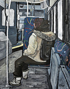 Quebec Art Paintings - Waiting for the Stop by Reb Frost