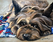 Cairn Terrier Prints - Waiting for the Wizard Print by Mary Sparrow Smith