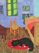 Chair Drawings Originals - Waiting for Van Gogh by Gail Eisenfeld
