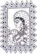 Jewelry Greeting Cards Posters - WAITING FOR YOU-Madhubani Mithila painting Poster by Aboli Salunkhe