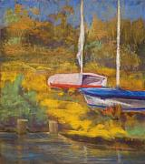 Boats Pastels Prints - Waiting Print by Jimmie Trotter