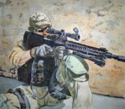 Navy Paintings - Waiting by Kerra Lindsey