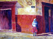 Mexico People Paintings - Waiting by Myra Evans