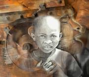 Haiti Drawings - Waiting On The World To Change by Bob Salo