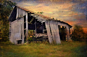 Abandoned Barn Prints - Waiting To Fall Print by Kathy Jennings