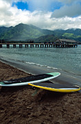Kauai Pier Posters - Waiting to Paddle in Hanalei Bay Poster by Kathy Yates