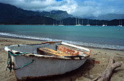 Landscape Greeting Cards Photo Prints - Waiting to Row in Hanalei Bay Print by Kathy Yates