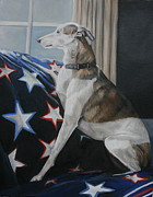 Whippet Painting Posters - Waiting Whippet Poster by Charlotte Yealey