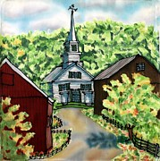 Summer Tapestries - Textiles Posters - Waits River Church Poster by Linda Marcille