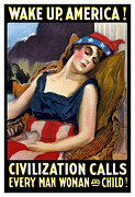 1-up Framed Prints - Wake Up America Civilization Calls Framed Print by War Is Hell Store