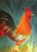 Cockerel Paintings - Wake Up Call by Anastasis  Anastasi