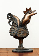 Chicken Sculpture Framed Prints - Wakeup Call Rooster Image 2 Bronze Sculpture with beak feathers tail brass and opaque surface  Framed Print by Rachel Hershkovitz