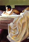 Male Nude Paintings - Waking Up by Douglas Simonson